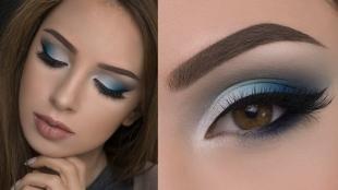 Макияж для брюнеток к синему платью, макияж для карих глаз в синих тонах