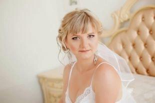 Свадебный макияж для круглого лица, свадебный макияж для зеленых глаз в коричневых тонах