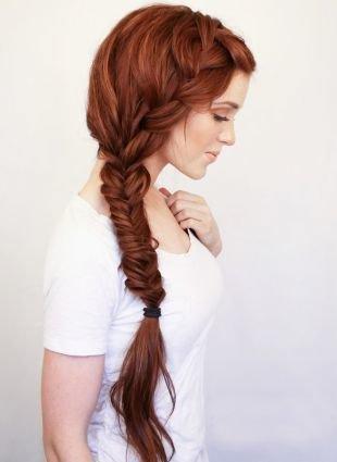 """Рыжий цвет волос, прическа на 1 сентября с """"колоском"""" и """"рыбьим хвостом"""""""