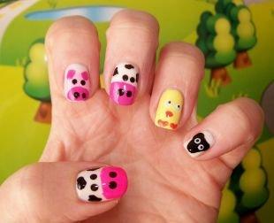 Рисунки дотсом на ногтях, домашние животные на ногтях