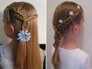 Быстрые прически на длинные волосы, романтичная прическа в школу для девочек