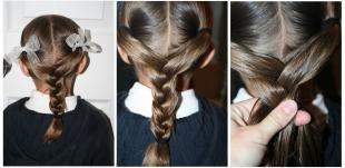 Цвет волос шатен, простая школьная прическа