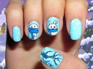 Рисунки на ногтях кисточкой, детский зимний макияж