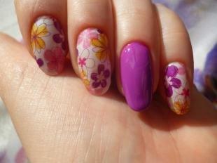 Дизайн ногтей слайдер, летний маникюр в цветочек