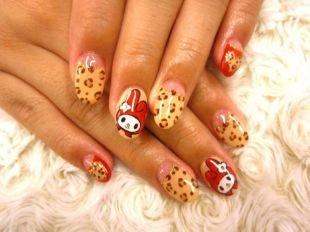 Рисунки на ногтях своими руками, леопардовый лунный маникюр с мультяшным рисунком