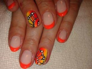 """Красивые ногти френч с рисунком, ярко-оранжевый френч """"крылья бабочки"""""""