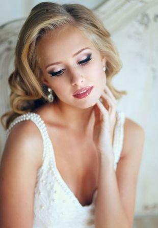 Свадебный макияж для серо-голубых глаз, очаровательный свадебный макияж - стрелки