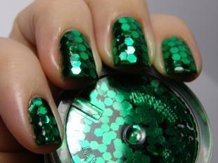Зеркальный маникюр, яркий зеленый маникюр с блестками