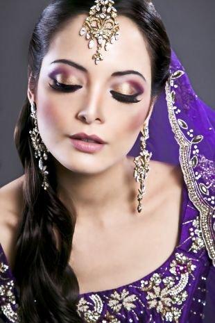 Свадебный макияж в восточном стиле, красивый индийский макияж
