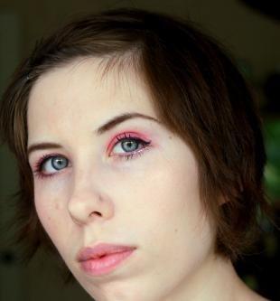 Макияж для круглых маленьких глаз, розовый макияж для серых глаз