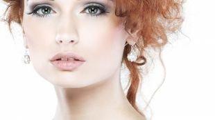 Свадебный макияж в серых тонах, макияж для рыжих с серыми тенями