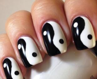 """Черно-белый дизайн ногтей, дизайн ногтей """"инь-янь"""""""