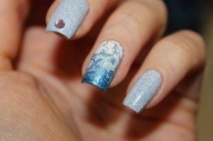 Дизайн гелевых ногтей, красивый новогодний маникюр с песочным лаком