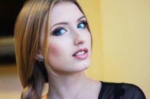 Вечерний макияж под синее платье, макияж для голубых глаз с использованием серых и синих теней