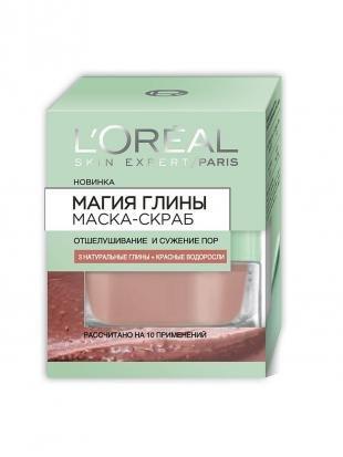 """Маска-скраб, l'oreal paris маска-скраб для лица """"магия глины"""" отшелушивание и сужение пор, для всех типов кожи, 50 мл"""