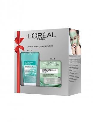 Маска-скраб, l'oreal paris набор маска для лица очищение и матирование, 50 мл+скраб для лица для нормальной, 150мл