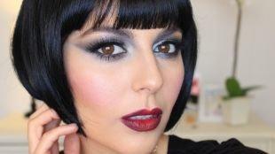 Макияж с красной помадой, макияж в стиле чикаго 30-х годов серыми тенями