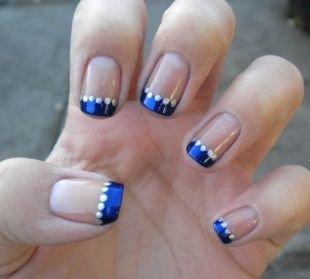 Короткий френч, синий френч с помощью дотса