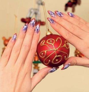 Маникюр на Новый год, новогодний дизайн ногтей острой формы