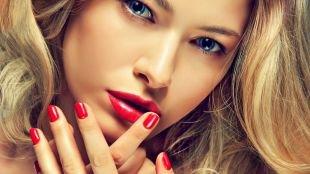 Макияж для блондинок к красному платью, повседневный макияж для голубых глаз