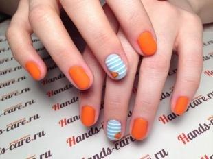 Оранжевый маникюр, матовый маникюр в оранжевом и голубом цветах