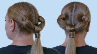 Прическа хвост на длинные волосы, оригинальная прическа на основе двух хвостов