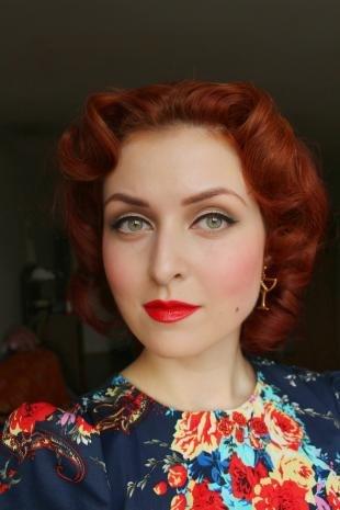 Макияж в стиле пин ап, ретро-макияж для зеленых глаз и рыжих волос