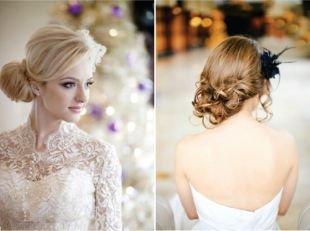 Прически с цветами, свадебные прически на средние волосы - варианты пучка
