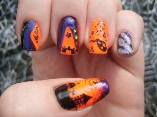 Фиолетовый маникюр, яркий маникюр на хэллоуин