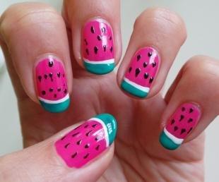 """Радужный френч цветными гелями, дизайн ногтей """"арбузные дольки"""""""