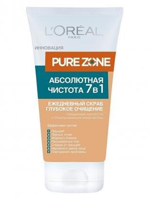 """Скраб для проблемной кожи лица, l'oreal paris скраб для лица """"pure zone, глубокое очищение 7 в 1"""", 150 мл"""