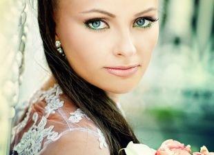 Свадебный макияж для брюнеток, свадебный макияж для голубых глаз с зеленой подводкой