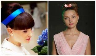 """Коричневый цвет волос, прическа """"бабетта"""" с лентой"""