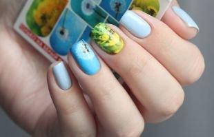 Рисунки на коротких ногтях, желто-голубой маникюр с одуванчиками