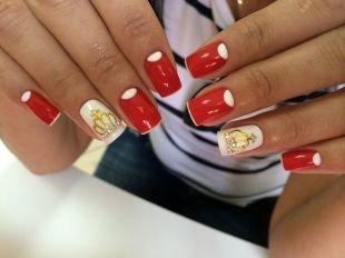Рисунки короны на ногтях, гламурный красный маникюр с коронами