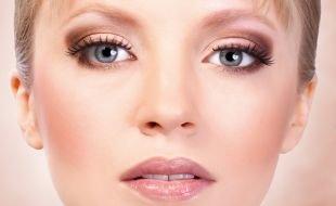 Яркий свадебный макияж, макияж для серых глаз в коричневых тонах