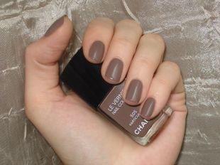 Европейский маникюр, светло-коричневый маникюр на коротких ногтях