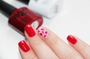 Легкие рисунки на ногтях, красно-белый маникюр с помощью дотса