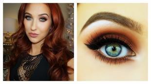 Коричневый макияж, роскошный вечерний макияж для темно-рыжих волос