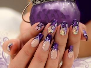 Френч с цветами, темно-фиолетовый френч с цветами