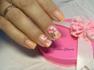 Оранжевый маникюр, свадебный маникюр в персиково-розовых тонах