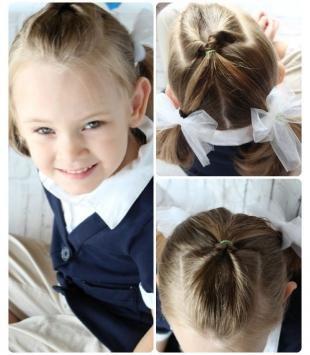 Мышиный цвет волос на длинные волосы, прическа в школу с бантами