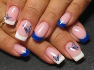 Голубой френч, френч с бабочками