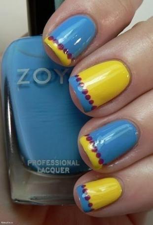 Радужный френч цветными гелями, желто-голубой френч с красным горошком