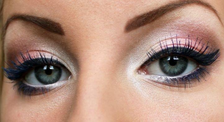 Серые глаза и тени персикового и розового оттенков