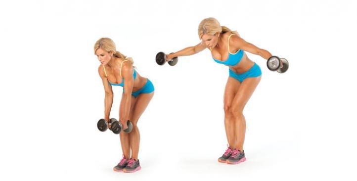 Упражнение – разведение гантелей в наклоне